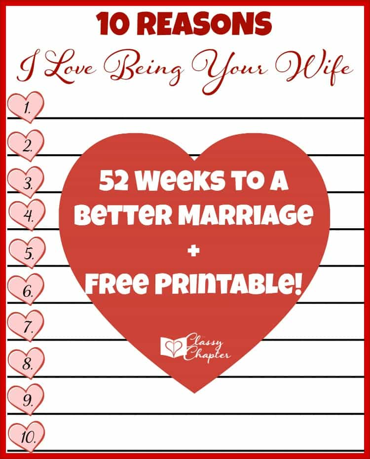 Download your free printable to tell you husband why you love being his wife!