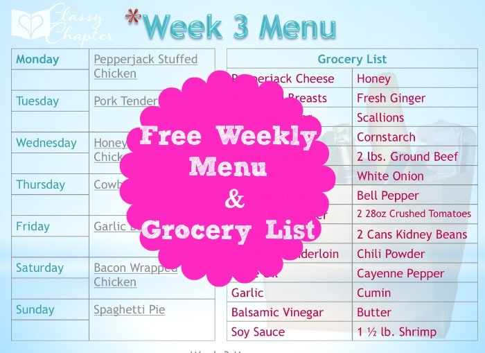 Free printable menu plan and grocery list. Check back each week for a new menu!