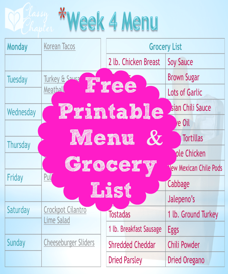 Download your free Menu Planning Printable!