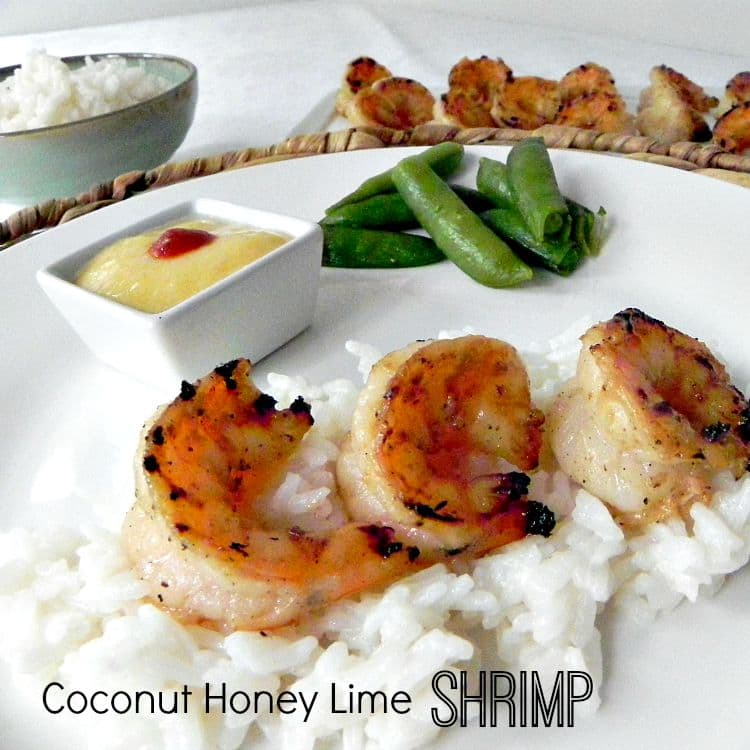 Grilled Coconut Honey Lime Shrimp - your family will love them. Perfect for company too