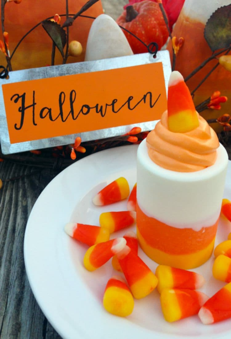 These candy corn shot glasses are the perfect Halloween treat. Use them as a fun Halloween dessert.