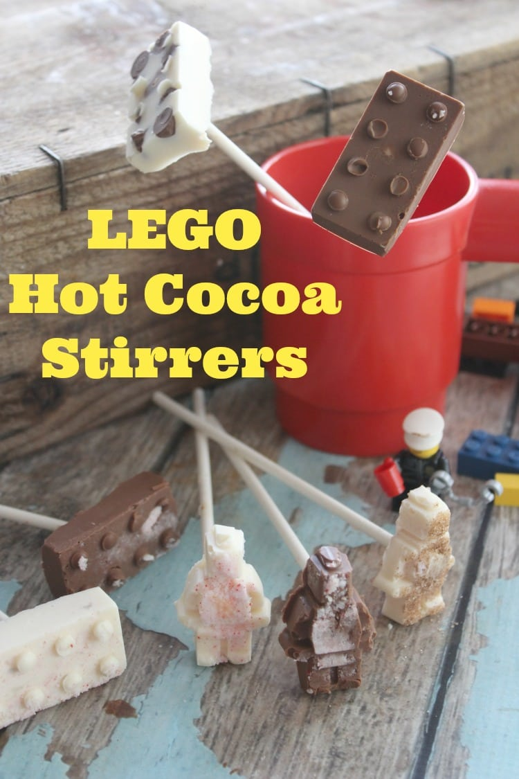 These hot cocoa stirrers are perfect for Christmas or a LEGO party.
