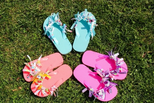 crafts for teens to make, easy crafts for teen girls, diy flip flops with ribbon