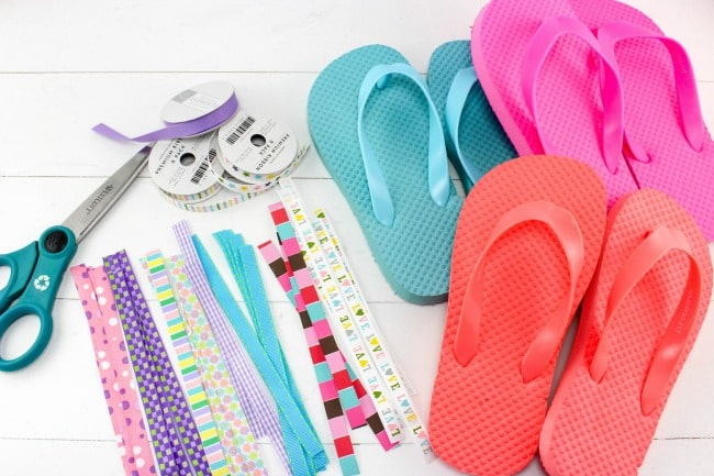 6ad1988c2d005 DIY Ribbon Flip Flops The Perfect Craft for Teens