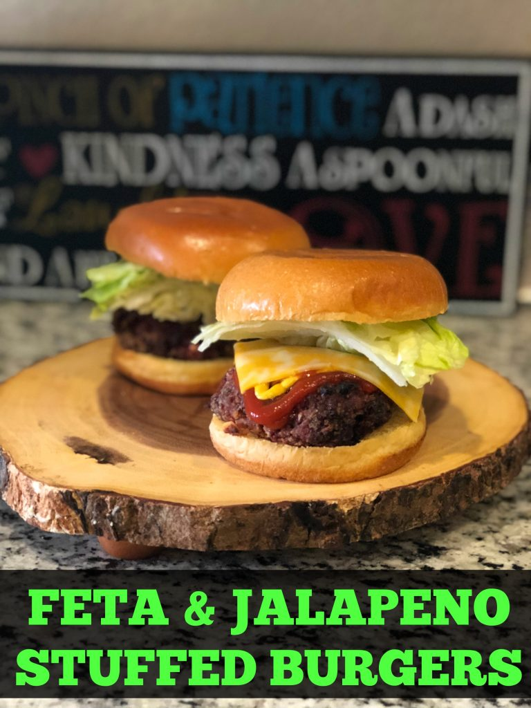 Feta and jalapeno stuffed burgers.