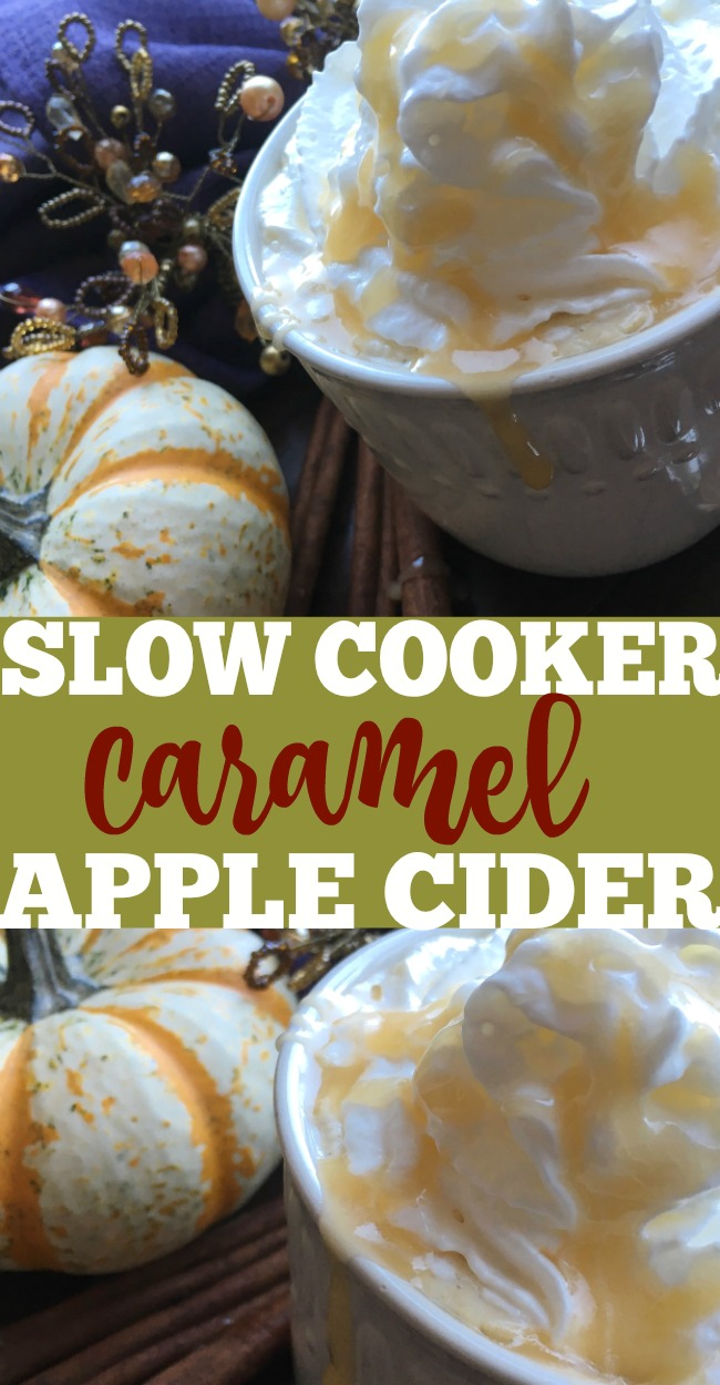 You have to try this slow cooker apple cider recipe with homemade caramel sauce. You'll love how easy it is to make this homemade cider in the crockpot. #apple #applecider #slowcooker #fall #beverages