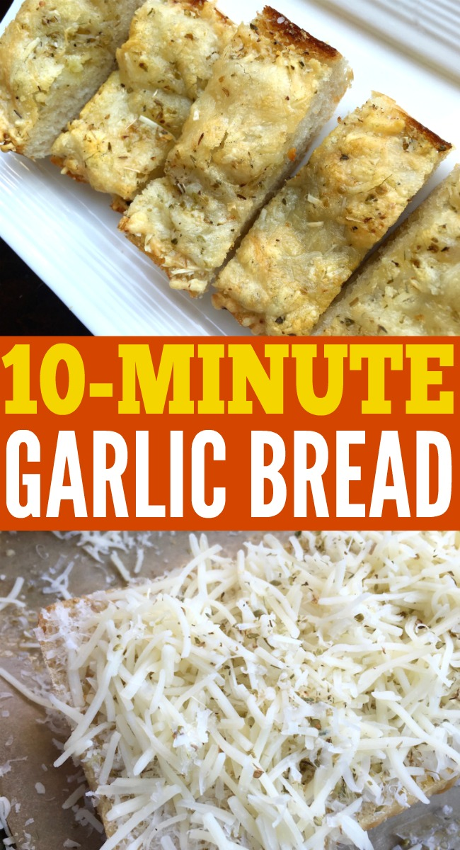 Delicious and quick cheesy garlic bread. Done in under 10-minutes!