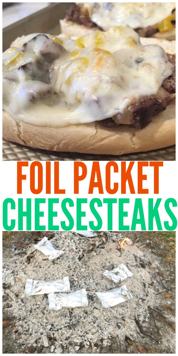 This foil packet meal is so easy and tasty! This one is a cheesesteak sandwich. This is the perfect camping food.
