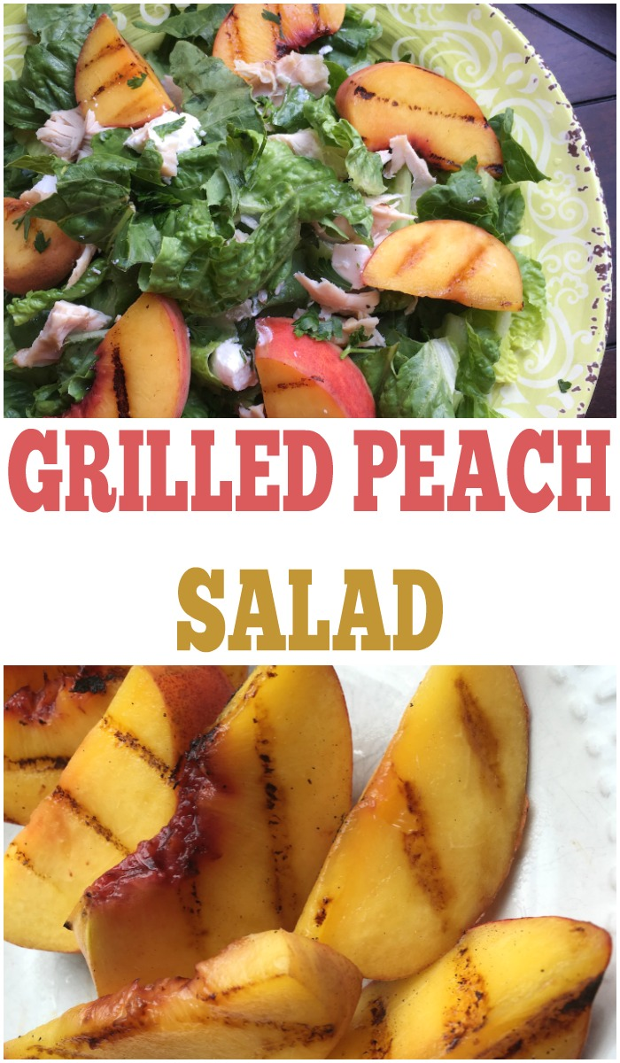 This healthy salad recipe is so yummy! It uses grilled peaches and a champagne vinaigrette dressing.