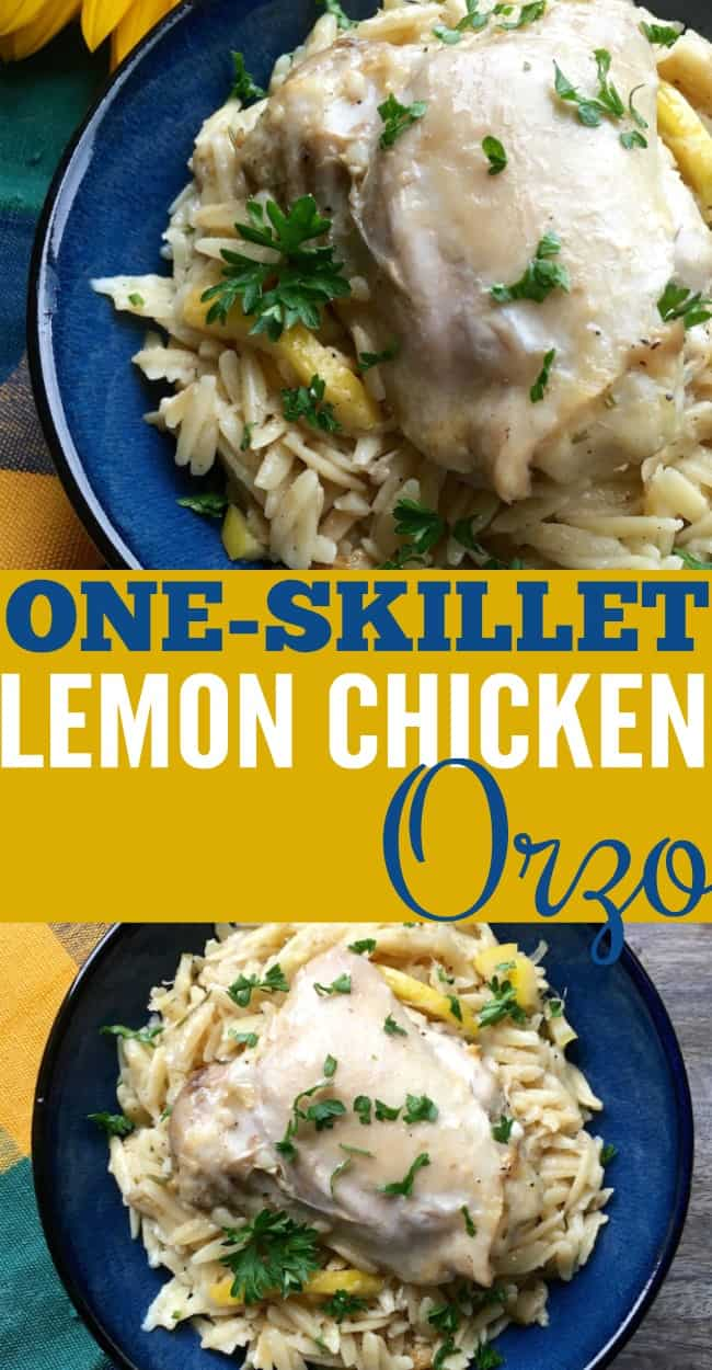 one skillet lemon chicken orzo. Quick and easy dinner idea