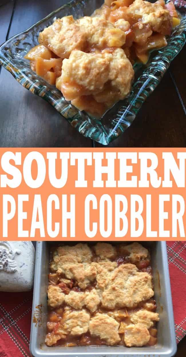 southern peach cobbler recipe. Easy dessert ideas. Summertime recipes | summertime desserts
