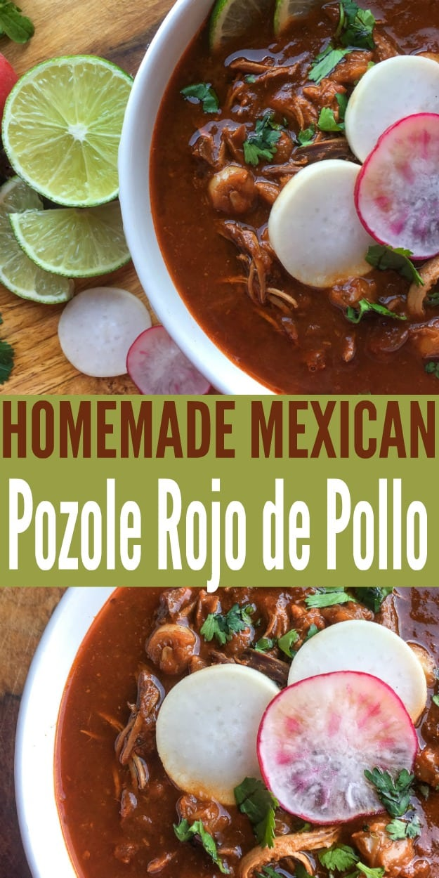 Pozole Rojo de Pollo is a traditional Mexican soup that is perfect for cinco de mayo or any other time of year when you want a nice warm bowl of posole.