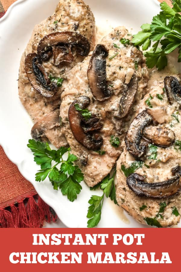 Instant Pot Chicken Marsala is the perfect quick dinner recipe. #instantpot #chicken #pressurecooker #instantpotrecipes #chickenmarsala #dinnerideas #recipes