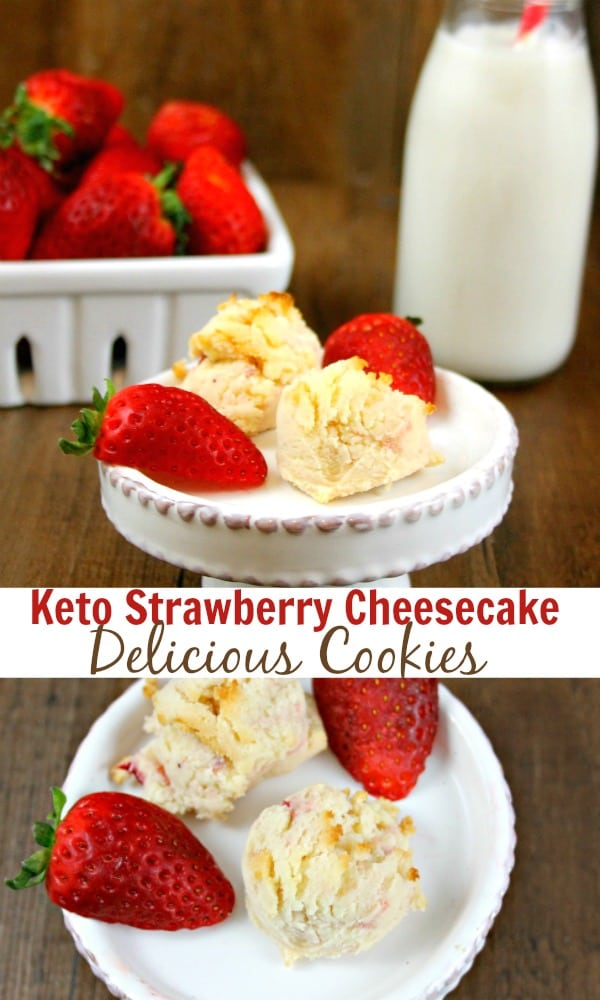 Easy and delicious low carb cookies. These Keto strawberry cheesecake cookies are a health dessert idea if you are following the keto diet. #lowcarb #keto #cheesecake #lowcarbcookies #ketocookies #lowcarbdesserts #ketodesserts #ketocheesecake