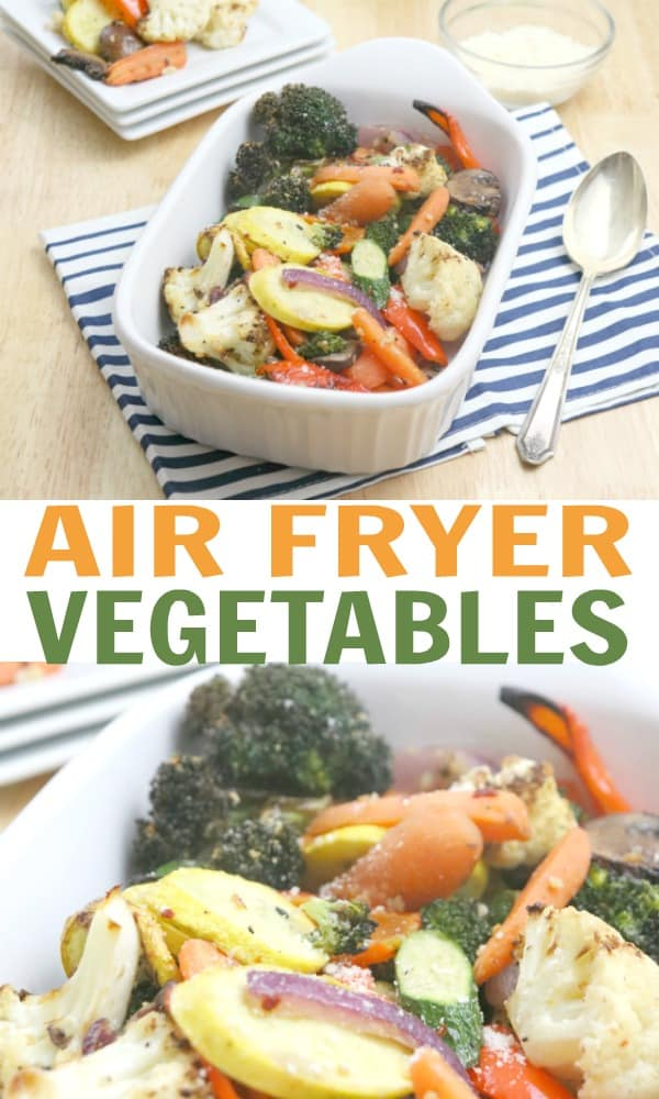 Do love your Air Fryer? If so, you to try this Air Fryer Vegetables recipe. It's seriously amazing and loaded with flavor, making it the perfect healthy side dish. If you need a new Air Fryer recipe idea, this is the one for you! #AirFryer #AirFryerRecipes #RoastedVegetables #AirFryerVegetables