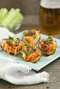 Air Fryer Potato Skins (With Buffalo Chicken)